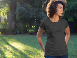 African American woman wearing Grateful tee by CP Designs Unlimited
