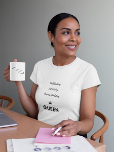 CP Designs Unlimited - African American woman wearing Business Building Queen tee and holding matching mug