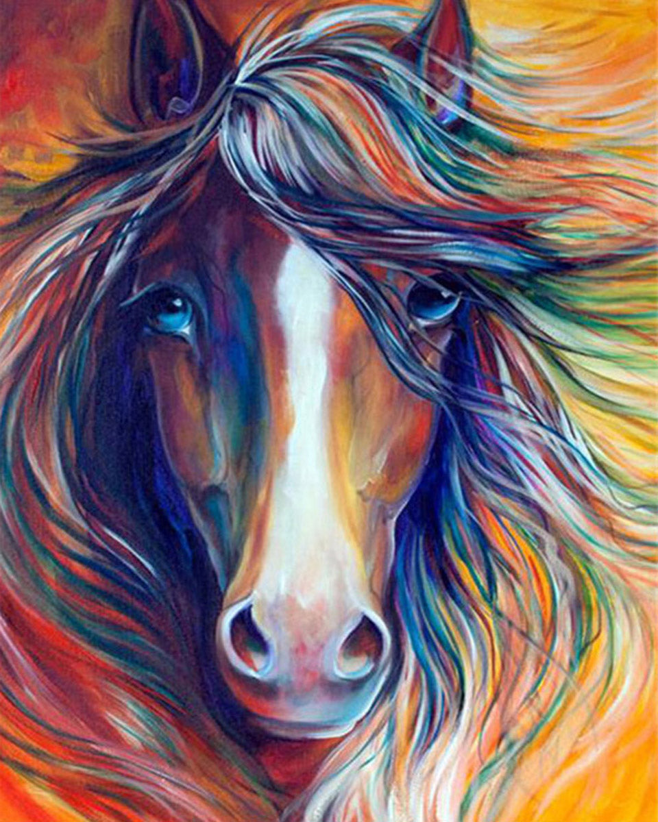 Diy Painting By Numbers Colorful Horse Head Paintingbynumberfactory
