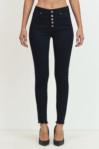 Mid-Rise Ankle Skinny Button Front in Black