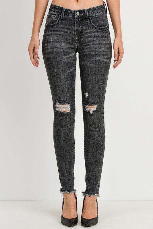 Mid-Rise Distressed Ankle Skinny in Dark Gray
