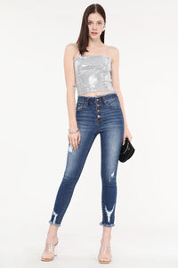 Raw Waistband Distressed Button Up Ankle Skinny