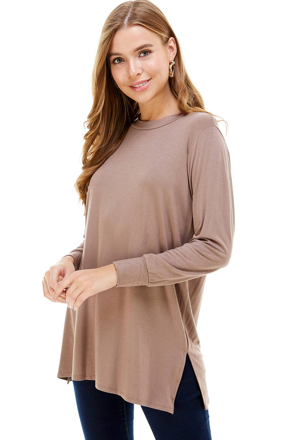 Long Sleeve Side Slit Tunic - Mocha