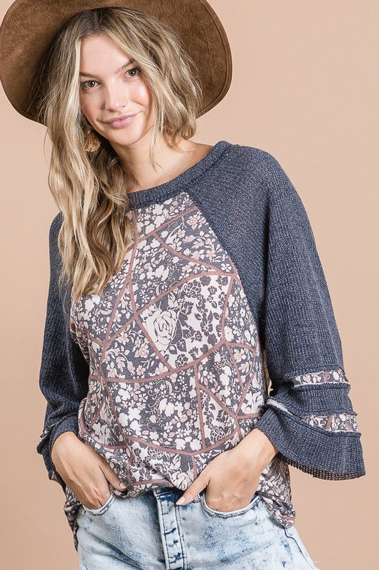 Multi Pattern Long Sleeve Top