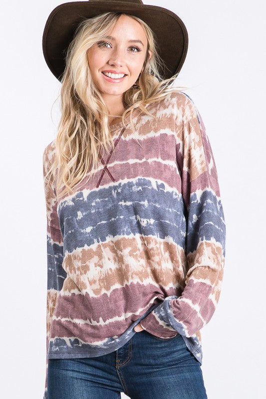 Casual Tie Dye Long Sleeve Top