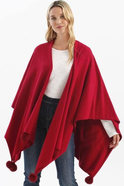 Plush Cape w/ Pom Poms - 2 colors