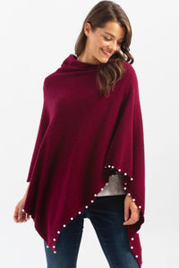 Plush Poncho w/ Pearls - 2 Colors