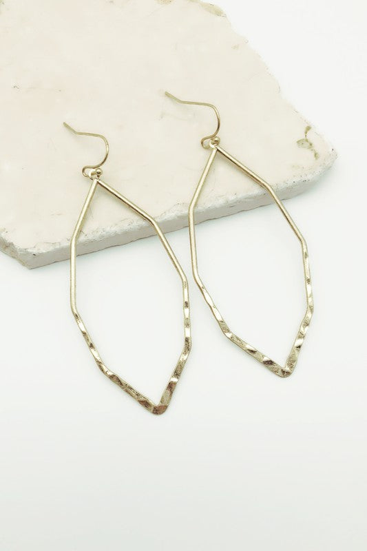 Octagon Earrings w/ Hammered Bottom-Gold