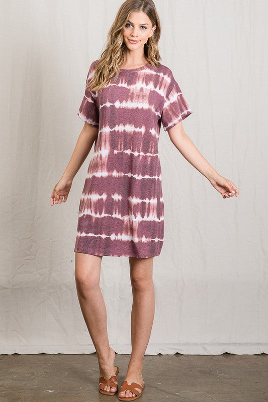 Tie Dye Striped T Shirt Dress in Wine
