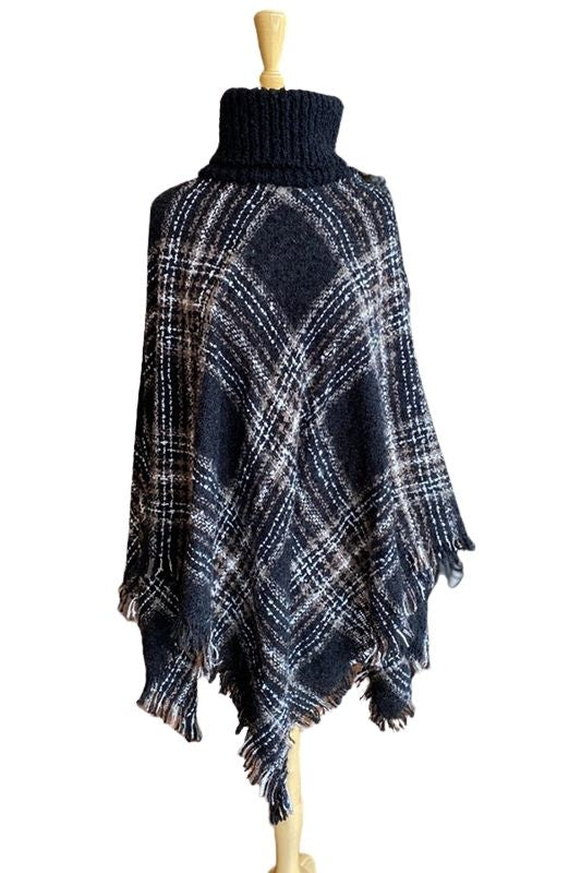 Black Plaid Cowl Neck Poncho