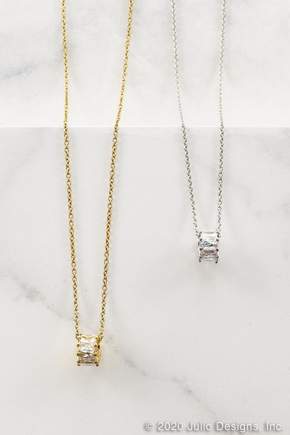 Cubic Zirconia Necklace - Gold or Silver