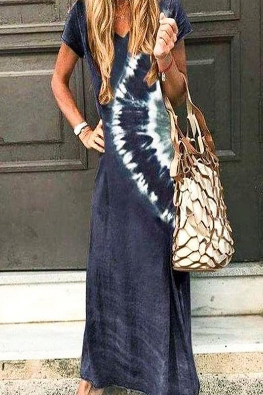 S/S V Neck Dip Dyed Maxi Dress