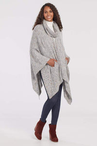 Cape w/ Removable Collar - Gray Mix