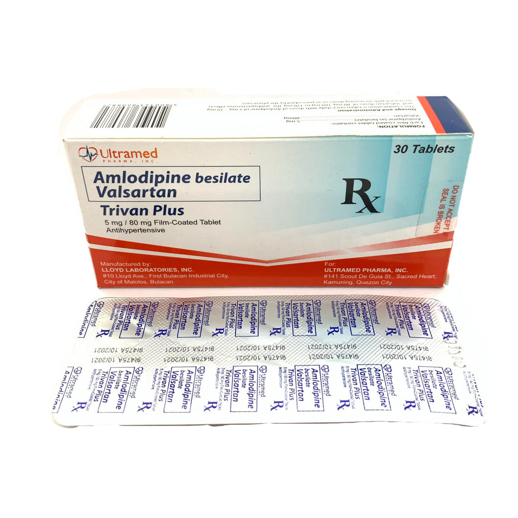 Amlodipine + Valsartan (Trivan Plus) 5mg/80mg Tablet