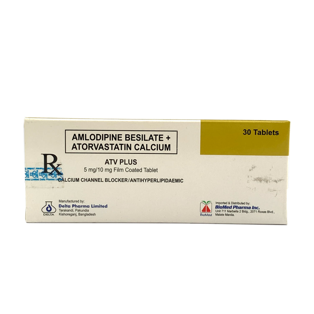 Amlodipine besilate 5mg + Atorvastatin calcium 10mg (PRESCRIPTION REQUIRED)