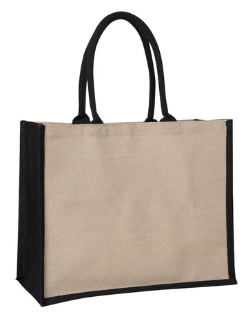 JCO 0137 BK (Contrast Black) - Laminated Juco Supermarket Bag with Black Handles and Gussets