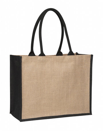 TB 0137 LJ (Contrast Black) - Laminated Jute Supermarket Bag with Black Handles and Gussets