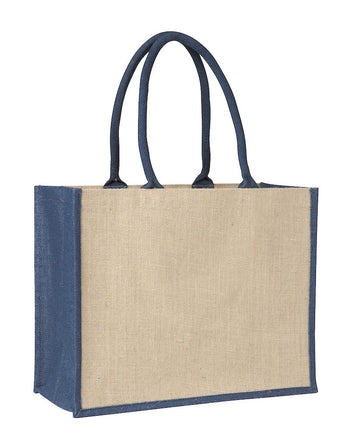 LJ 0137 BL (Contrast Blue) - Laminated Jute Supermarket Bag with Blue Handles and Gussets