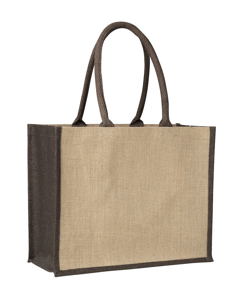 LJ 0137 BN (Contrast Brown) - Laminated Jute Supermarket Bag with Brown Handles and Gussets