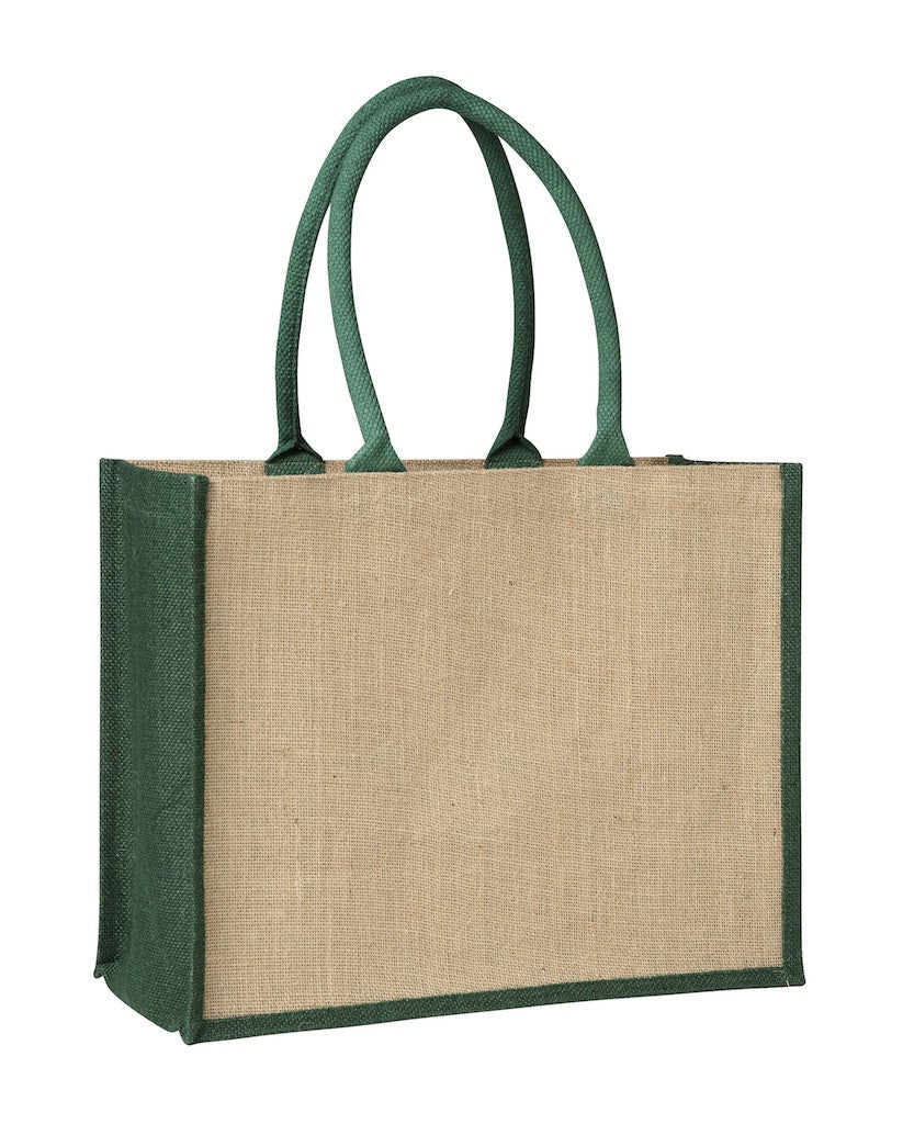 LJ 0137 GN (Contrast Green) - Laminated Jute Supermarket Bag with Green Handles and Gussets