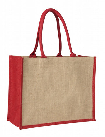 LJ 0137 RD (Contrast Red) - Laminated Jute Supermarket Bag with Red Handles and Gussets