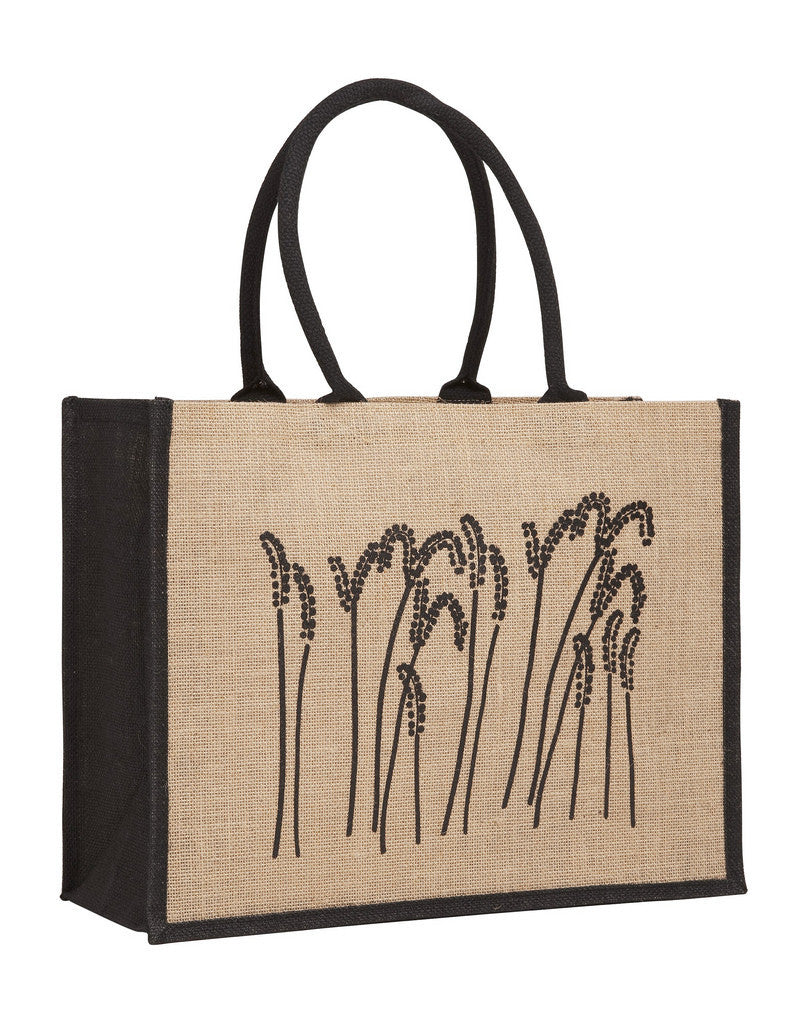 LJ 0137 BK (Contrast Black) - Laminated Jute Supermarket Bag with Black Handles and Gussets
