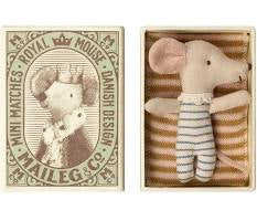 Maileg Baby Mouse Sleepy Wakey boy in Matchbox.