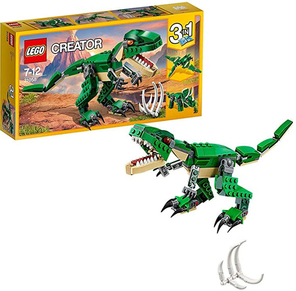 LEGO 31058 Creator Mighty Dinosaurs Toy, 3 in 1 Model, T-Rex Triceratops and Pterodactyl Age 7-12