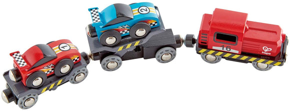 Hape E3735 Race Car Transporter Railway Engine - Compatable with Brio & other wooden train sets.