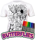 Splat Planet Colour-in T-Shirt with 10 Non-Toxic Washable Magic Pens - Colour-in and Wash Out T-Shirt