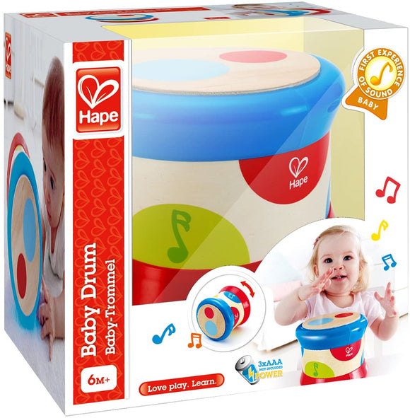 Hape E0333 Light Up Rolling Baby Drum - Wooden Musical Toy 6M+