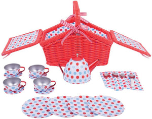 Bigjigs Toys Colourful Spotted Tea Set and Carry Basket - Pretend Role Play