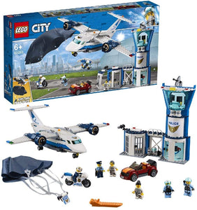 LEGO 60210 City Police Sky Police Air Base Station, Aeroplane with Paratrooper plus Jetpack, Motorbike and Car Toys, Chase Building Sets for Kids