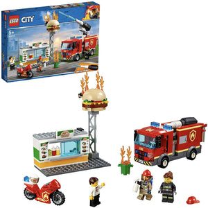 LEGO 60214 City Fire Burger Bar Fire Rescue Building Set with Fire Engine Truck and Motorbike