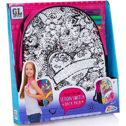 GL Style Make Your Own Sequin Backpack Age 6+ Rucksack Bag