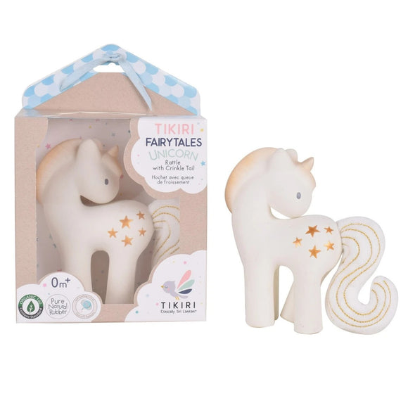 Tikiri Fairytale Collection – Shining Stars Unicorn – Natural Rubber with Crinkle Tail and Rattke