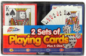Playing Cards with Dice – 2 Sets of Cards with 4 Dice and Storage Case (Grafix)