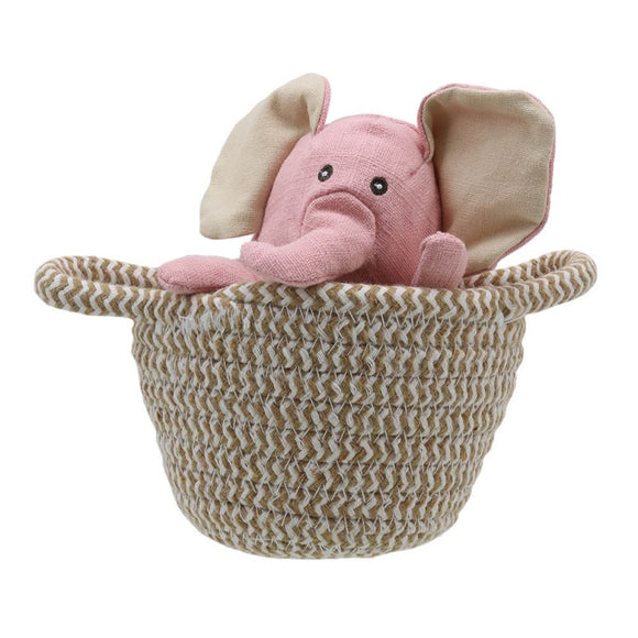 Wilberry Pets in Baskets - Elephant (pink)
