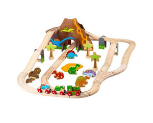 Bigjigs Rail Wooden Dinosaur Railway Set - 49 Pieces BJT035 Age 3+