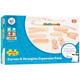 Bigjigs Curves and Straights Expansion Pack  - Compatable with Brio & other wooden train sets.