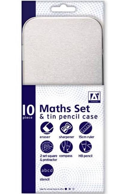 10 Piece Maths Geometry Set & Tin Pencil Case Back to School Children's Kids