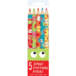 5 Jumbo Colouring Pencils - Dinki Dinos Collection