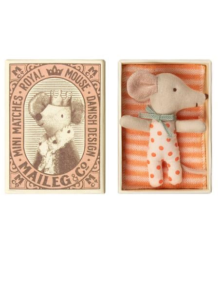 Maileg Baby Mouse Sleepy Wakey Girl in Matchbox. (16-9710-01)