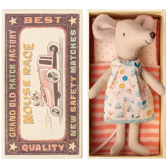 Maileg Mice- Big sister in Box mouse pink polka dot - NEW STOCK