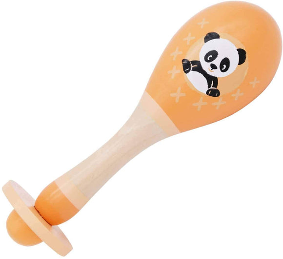 Wooden Maraca Baby Rattle Toy – Wooden Musical Instrument for Toddlers - Animal Design - Noise Maker Toy for Children  5 Months– Made from sustainable wood - Pastel Colours (Orange Panda