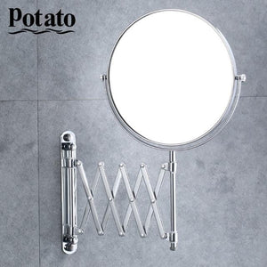Chrome Round Double-sided 360 Deg 7X Magnifying Mirror 8""