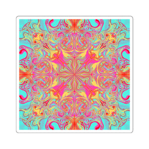 Keeshasaurus Collection: Psychedelic Mandala Square Stickers