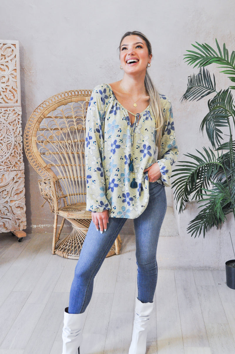 Loose blouse printed flowers with tie long sleeve upycled saris sustainable.