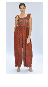 Whimsical Jumpsuit -  Upcycled  Sari (assorted prints)