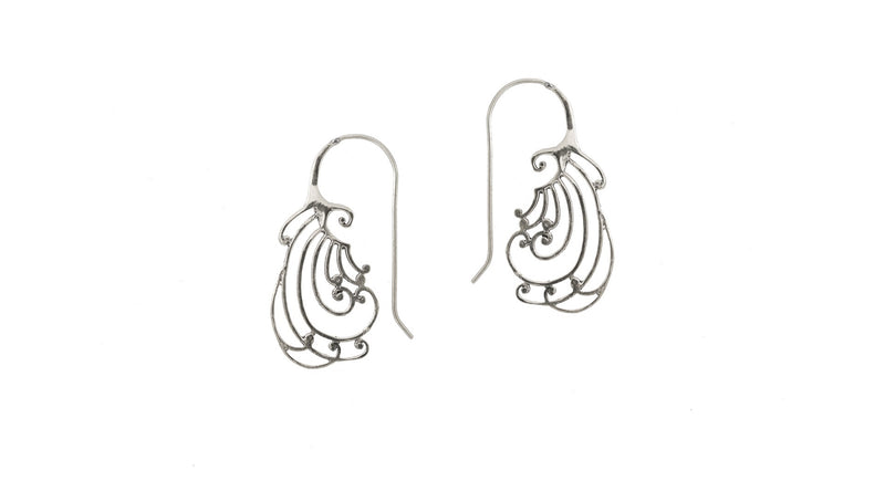 silver plated spiral earrings.
